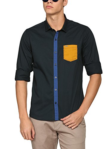 abof Men Navy Blue Slim Fit Casual Shirt  available at amazon for Rs.298