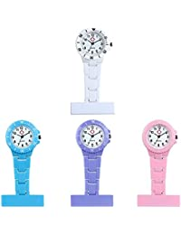 Nurse Clip-On Brooch Lapel Hanging Quartz Pocket Watch with Arabic Number Markers