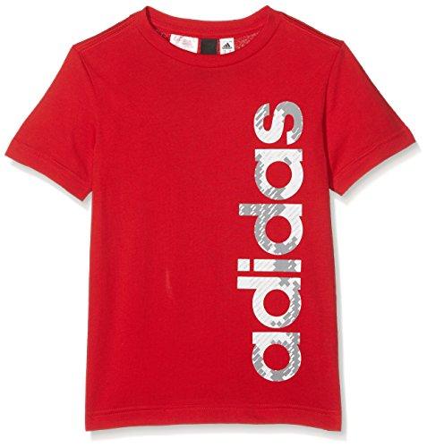 adidas Jungen Linear T-Shirt, Scarlet, 140 (Scarlet T-shirt Kinder)