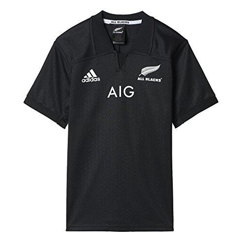 Adidas ab h jsy e maglietta prima divisa all blacks - nazionale rugby nuova zelanda bambino, nero, 164