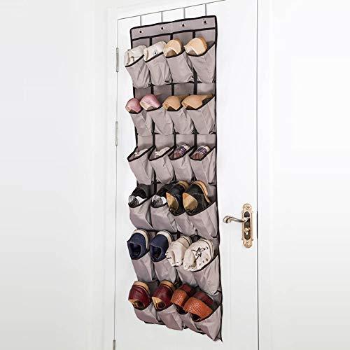 Scarpiera_over the door shoe organizer 24 grande armadio tascabile in tessuto storage accessori appendiabiti sospeso, grigio