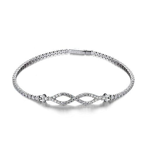925Bracelet argent zircon plaqué platine/ La version coréenne de bracelet en argent simple/ Cadeau de Saint Valentin A