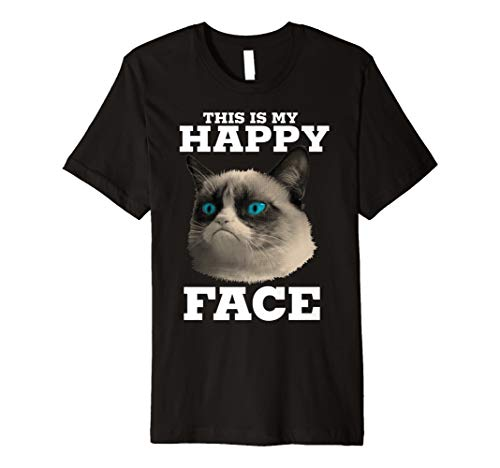 Grumpy Cat This Is My Happy Face Halftone Portrait T-Shirt - Happy Face Tee