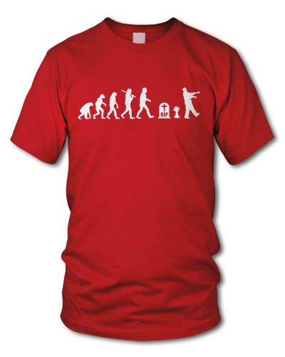 shirtloge - EVOLUTION ZOMBIE - KULT - Fun T-Shirt - in verschiedenen Farben - Größe S - XXL Rot (Weiß)
