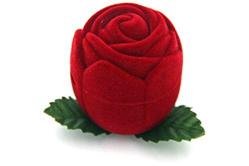 Thorani Ringbox Rose, rot - Ringschachtel Schmuckkasten für Verlobung Hochzeit Valentinstag Überraschung Etui