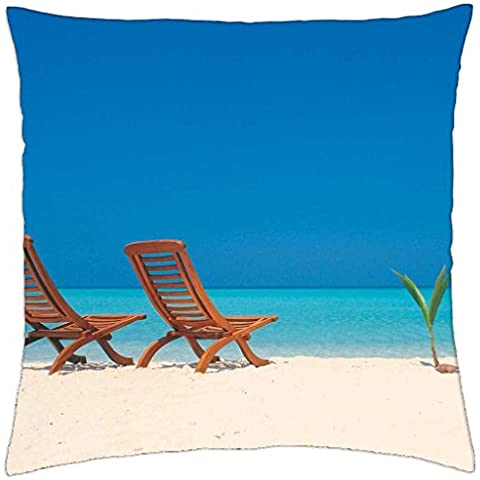 Decks Chairs on White Sand - Throw Pillow Cover Case