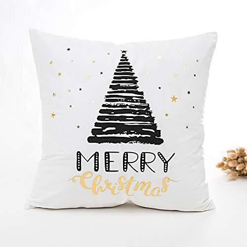 Kissenbezug,1 Stück Elegant Weiche Bronzing Zierkissenbezüge Kissenbezug,Merry Christmas Serie Sofa Bett Home Decor Throw Kissen Fall Kissenhülle,45cm x 45cm (A2)