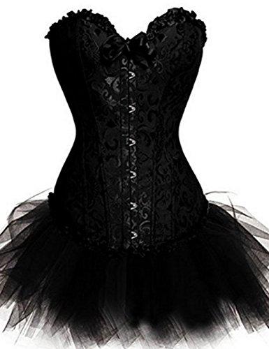 Beverla Halloween Karneval Party Korsett Kleid Shaper Corsage Bustier Top mit Spitze Tutu-Rock
