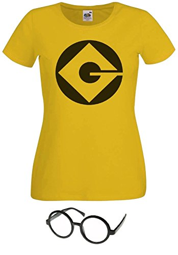 Damen T-shirt Minion Gelb mit Brille Gr. Small, *