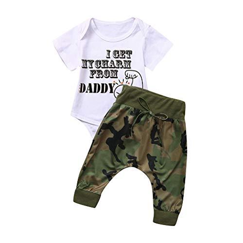 Pwtchenty 2 Stücke Säugling Kleinkind Baby Jungen Mädchen Brief T-Shirt Tops Camo Hosen Böden Kleidung Set Bekleidungssets Strampler Bodysuit Taufstrampler Kleidung Outfits -