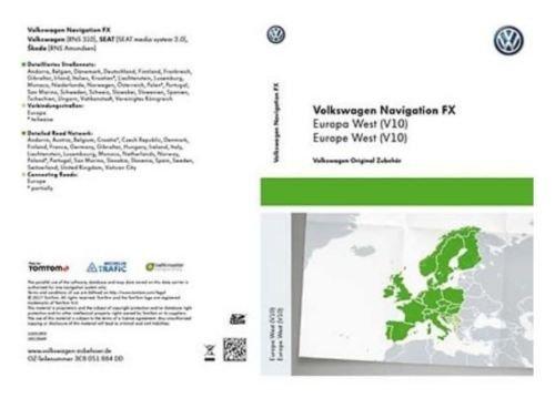VW RNS 310Skoda Amundsen Sitz SAT NAV Navigation SD Card West Europa V102018 - West-sd-karte