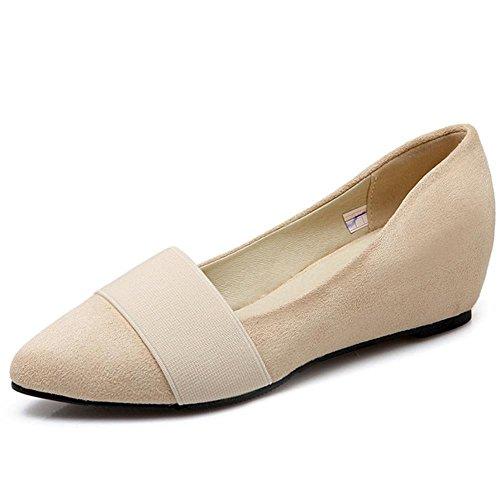 COOLCEPT Ladies Fashion Elastic Dolly Shoes Maedchen Schule Dress Comfy Niedrige Pumps Beige