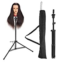 Wig Head Stand Holder, Rotatable Stainless Steel Mannequin Head Tripod Stand,Adjustable Manikin Hairdressing Stand