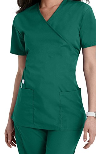 Smart Uniform Women's 1224 Scrub Modern Fit Mock Wrap Top (L, Jäger [Hunter]) (Frauen Scrubs Uniformen)