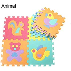 meosu Tappeto Gioco Bambini 10Pcs Play Mat Floor Soft Children Foam Mosaic Puzzle Carpet Baby Puzzle Developing Crawling Rugs Other Animal
