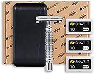 Shave It One, set da viaggio con rasoio di sicurezza, 30 lame e custodia da viaggio