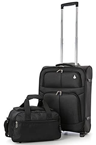 Ryanair 55x40x20cm and 35x20x20cm Aerolite Lightweight Hand Luggage Cabin Suitcase & Second Additonal Bag , Take Both for Free & Pack the Maximum on your Ryanair Flight! (BLACK/BLACK)