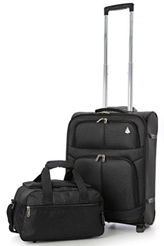 Aerolite 55x40x20 Ryanair Höchstbetrag 2 Rollen 42L Leichtgewicht Handgepäck Trolley Koffer Bordgepäck Kabinentrolley Reisekoffer Gepäck + 35x20x20 Zweites Handreisegepäck Gepäck-Set , Schwarz (Reisetasche-gepäck-set)