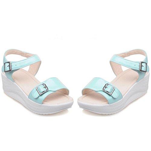 TAOFFEN Femmes Mode Compenses Sandales Bout Ouvert Sangle De Cheville Chaussures De Boucle Bleu