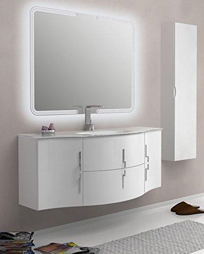 Mobile Bagno 138 cm arredo sospeso Bianco Rosso Nero Grigio con Ante e cassetti lavabo in Cristallo mobili I