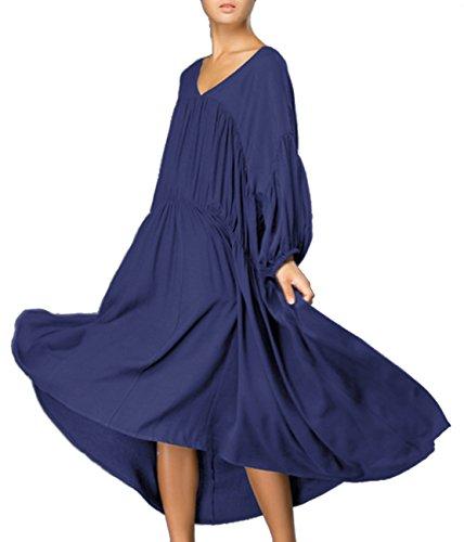 ELLAZHU Damen Winter Einfarbig Gefaltet Strick Langarm Kleid Einheitsgröße GW51 Blau