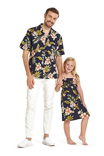 96d60e18a Hecho en Hawaii a juego Padre hija Hija Luau camisa chica volante vestido  en Azul marino con rosa floral L-2