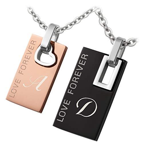 Schmuck-Pur Partnerketten mit Laser-GravurLove Forever Edelstahl rose/schwarz 2 Halsketten 45/50 cm