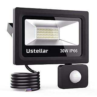 Ustellar 30W Motion Sensor Light, PIR Floodlight (150W Equivalent), Outdoor Security Lights, 2400lm IP66 Waterproof LED Flood Light for Garage Basement, 5000K Daylight White