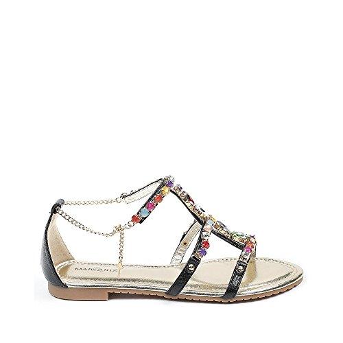 Ideal Shoes Sandales Plates avec Brides Incrustées de Strass Victoirine Noir