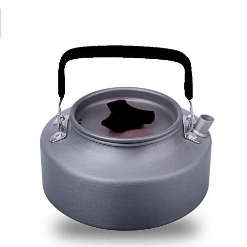 En plein air portable 1.1L1.6 bouilloire bouilloire bouilloire exquis pot pot café théière équipement de camping WHLONG (Couleur : Noir, taille : 1.1L)