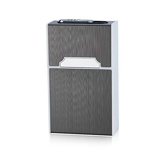 USB-Ladung Zigarettenanzünder-Integration Zinklegierung Zigarettenetui Zigarettenanzünder-Box bietet Platz für 20 Sticks Zigarette, grau Integration Box