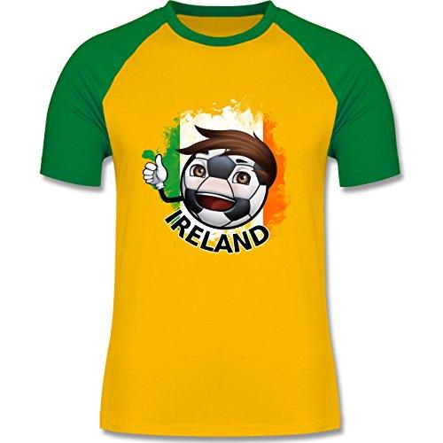 EM 2016 - Frankreich - Fußballjunge Irland - zweifarbiges Baseballshirt für Männer Gelb/Grün