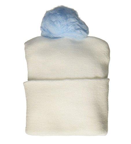 Bird & Cronin 08142262 Comfor Knit Baby Hat with Pom Newborn Blue Pom and Booties Accessory Set (Bootie Pom)