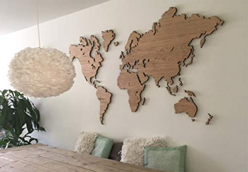 City Shapes 3D Weltkarte Holz – Echtholz – Inklusive Magnetensystem – Hochwertige Wanddekoration – Einzigartiger Schwebeeffekt – 3D Effekt (Eiche, 160 cm x 86 cm)