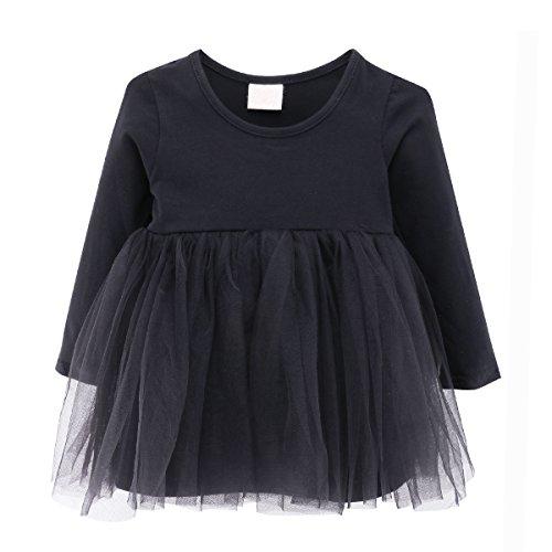 Baby Mädchen Kleid Prinzessin Hochzeit Taufkleid Blumenmädchen Festlich Kleid Kleinkind Festzug (Schwarze Kleid Kleinkind)