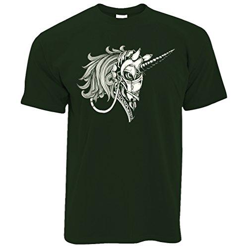 Gothic Armored Einhorn Alternative Graphics Design Cooler Herren T-Shirt Bottle Green