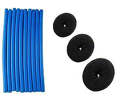 Fok Combo Pack Of 13Pc Hair Accessories, Set Of 3Pc Hair Puff Up Volumizer Donut Bun Puff Maker 3 Sizes Puff Styler + Set Of 10Pc Foam Hair Roller Sticks