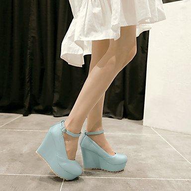 Talloni delle donne Primavera Estate Autunno Inverno Dress Altro similpelle Party & Sera cuneo casuale Heel fibbia Blu Rosa Bianco Blue