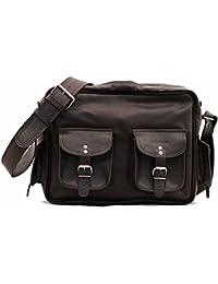 LE MULTIPOCHES INDUS, Bolso bandolera de cuero, estilo vintage, bandolera de cuero, bolso con bolsillos delante, color marrón oscuro PAUL MARIUS Vintage & Retro