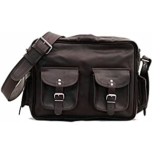 PAUL MARIUS LE MULTIPOCHES INDUS, Bolso bandolera de cuero, estilo vintage, bandolera de cuero, bolso con bolsillos delante, color marrón oscuro Vintage & Retro