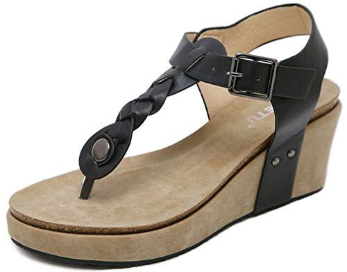Plateau Sandalen Damen Sandaletten mit Keilabsatz Espadrille Sommer Leder Offene Bohemia Zehentrenner Sandalen Römersandalen Boho Schuhe Casual Strand