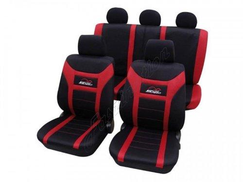 Preisvergleich Produktbild Sitzbezug Schonbezug Autositzbezug, Komplett-Set, Mazda, 121, 2 , 3 bis 3/2009, 323, 6 bis 1/2008, 6 ab 2/2008, 626 ,Schwarz Rot