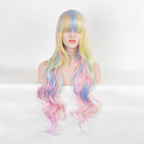 AN-LKYIQI Womens 85cm lockiges Haarfarbe Multi-Color Gradient lange hohe Qualität Haare schnitzen Cosplay Kostüm Anime Party knallt voll Sexy (Kostüm Luft Göttin)