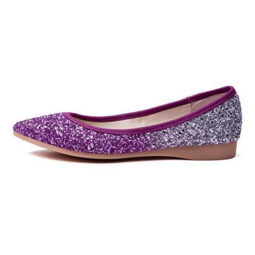 VogueZone009 Femme Tire Pointu Non Talon Couleurs Mélangées Chaussures à Plat Violet