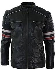 Blouson homme cuir véritable style biker motard noir à rayures rouges blanches style décontracté