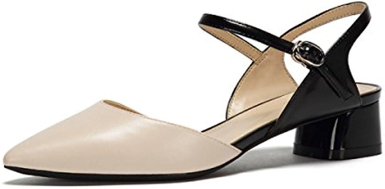 Ximu Spring New Simple Hebilla Acentuada Mary Jane Shoes Sandalias Cómodas Femeninas,Beige-36