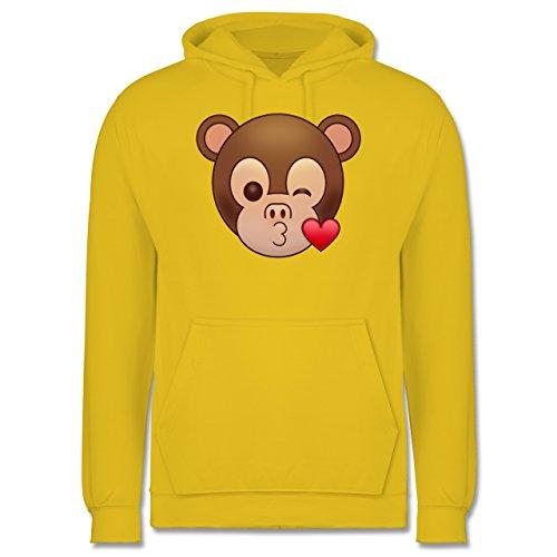 Comic Shirts - Küsschen Äffchen Emoji - Männer Premium Kapuzenpullover / Hoodie Gelb