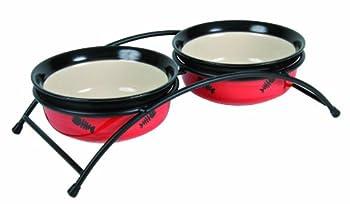 Set écuelles Eat On Feet avec support, 2 × 0,25 l/ø 12,5 cm, rouge/noir/crème