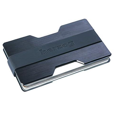 Herzog | Kartenetui aus erstklassigem Aluminium mit Geldklammer - RFID-Schutz - mit 2 Größen-Bänder Bänder inklusive - für bis zu 16 Scheckkarten - Geldbörse / Portemonnaie für
