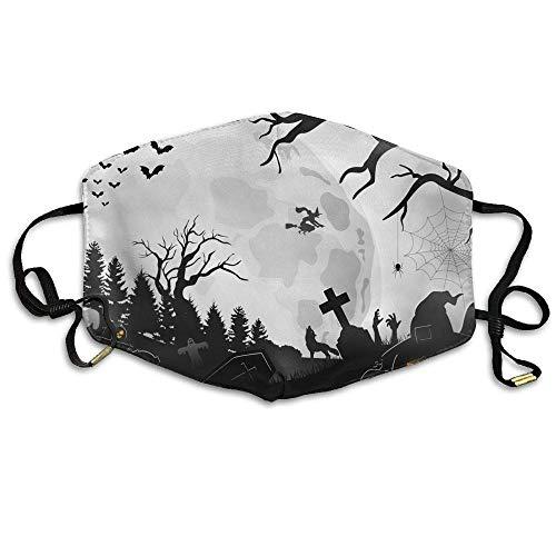 asken, Unisex Halloween Night Background with Pumpkins Anti Pollution Flu Masks Mouth Face Masks ()
